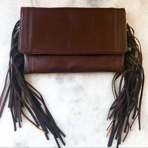 Deux Lux chocolate brown vegan clutch with fringe